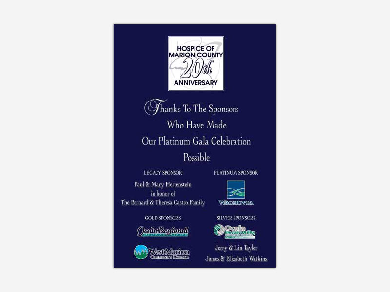 Hospice of Marion County Platinum Gala Celebration Poster #1
